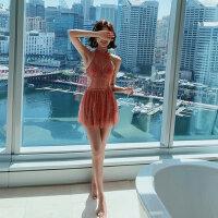 蕾丝性感连体泳衣女遮肚显瘦超仙沙滩裙新款韩国ins风游泳衣
