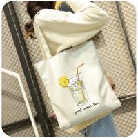 韩版帆布包女单肩手提简约小文艺清新学生书包袋定制印做logo定制 纵向中号