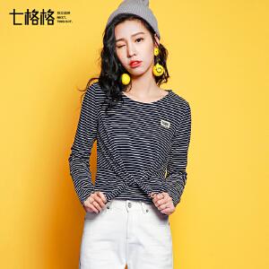 促长袖上衣女秋2017新款甜美学院风韩版修身显瘦圆领绑带条纹T恤