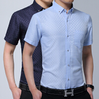 夏季新款暗格衬衫男短袖印花薄款免烫打领带扣领商务休闲口袋潮流