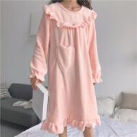 韩观秋冬韩版甜美公主睡裙可爱法兰绒宽松加厚性感长袖睡衣长款裙子女 粉色 均码