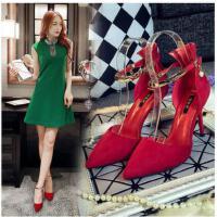 莫蕾蔻蕾春秋新款细跟凉鞋婚鞋时尚女鞋一字扣带单鞋女性感尖头高跟鞋ML6C095