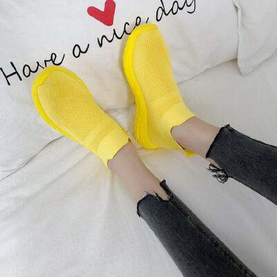 韩版潮流透气高帮板鞋休闲运动鞋镂空鞋夏季女鞋飞织袜子鞋女 品质保证 售后无忧