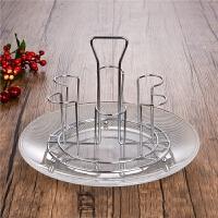 不锈钢6头沥水杯架 啤酒杯茶杯托架玻璃杯子倒挂架 饮料杯支架 25厘米宽雨点盘 矮杯架