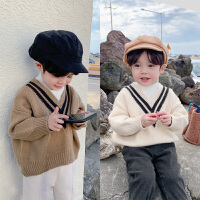 童装男童假两件毛衣儿童时尚针织衫学院风套头线衣冬装