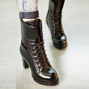 【满200减100】【毅雅】时尚简约系带粗跟短靴两穿侧拉链系带马丁靴子
