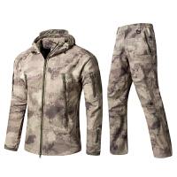 软壳冲锋衣裤套装两件套冬季户外保暖迷彩登山套服加厚加绒