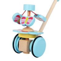 男孩儿童木制卡通动物推推乐婴幼单杆学步手推车宝宝拖拉玩具1-2周岁