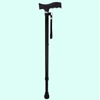老人拐杖用的拐棍防滑不锈钢单拐手杖银色黑色拐丈伸缩可调节 防滑舒握款 亮黑色