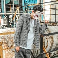 日系秋装新品竖条纹衬衫男复古潮流长袖翻领口袋衬衣上衣外套男潮