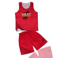 双面穿双面篮球服套装 热火红白短袖篮球衣印号高档篮球服球场训练服套装两面穿
