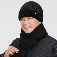 冬季老头爷爷毛线帽保暖中老年男士爸爸帽围巾老人帽子男冬天加厚