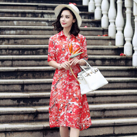 真丝连衣裙短袖POLO领花色中长裙修身2017年夏季 图片色