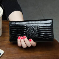 新款牛皮夹鳄鱼纹女式手拿包钱包女士长款潮薄大容量r 黑色