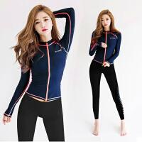 跑步健身房紧身长袖瑜伽服休闲运动套装女装春夏季三件套文胸
