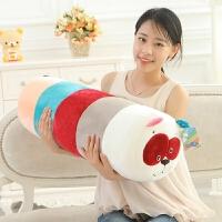 卡通圆柱条纹熊猫抱枕毛绒玩具公仔靠垫枕头生日礼物