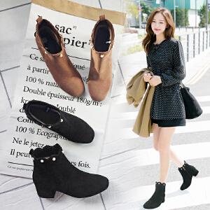 【满200减100】【毅雅】粗高跟时尚休闲珍珠装饰后拉链女士短靴子女鞋子 YM7WB8007