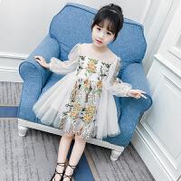 女童连衣裙春装新款儿童纱裙蓬蓬裙韩版洋气公主裙女孩蕾丝裙