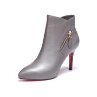 富贵鸟女靴女鞋 秋冬新款踝靴超高跟短靴女单靴 短筒靴