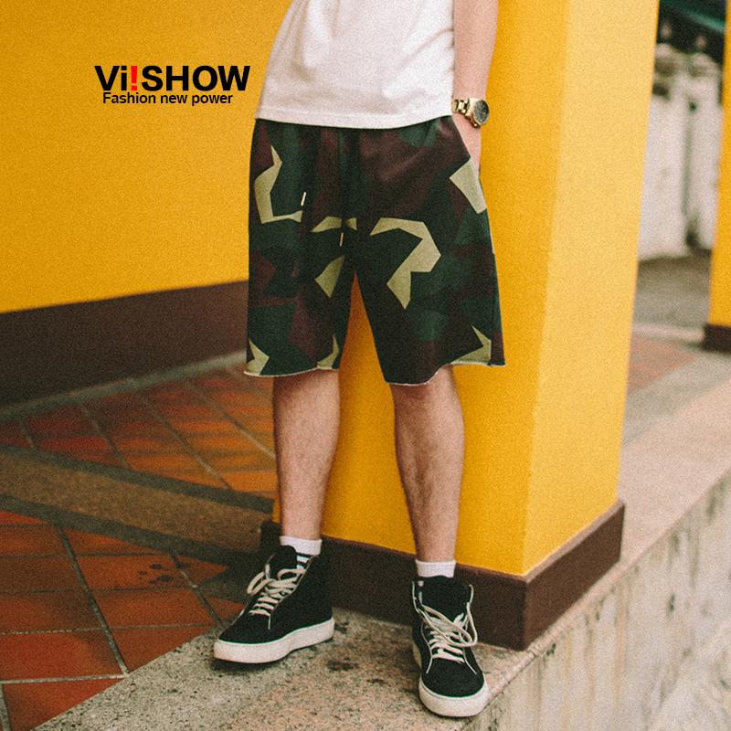 VIISHOW2017夏装新品休闲短裤男纯棉迷彩印花男士五分裤子绑抽绳满199减20 满299减30 满499减60 全场包邮