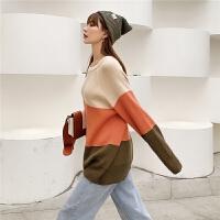 七格格打底针织衫女长袖2019新款冬季韩版宽松拼色套头洋气上衣潮
