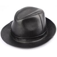 绵羊皮礼帽 爵士帽英伦秋冬季男士女士 绅士真皮上海滩发哥经典款