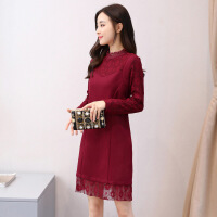 冬装新款韩版纯色立领蕾丝拼接连衣裙女中长款修身加厚打底裙