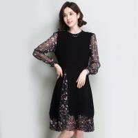碎花雪纺拼接假两件连衣裙18春装新款针织宽松时尚荷叶边打底裙