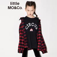 【折后价:159.6】littlemoco童装秋季新品儿童衬衫女童衬衫苏格兰格纹纯棉长袖衬衫