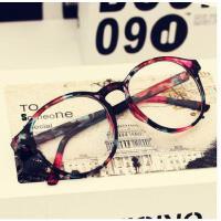 户外新品镜框韩版平光眼镜有镜片网红同款男女士款潮复古豹纹装饰眼睛近视眼镜框架
