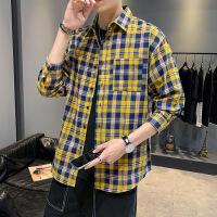 长袖衬衫男春秋韩版潮流青少年学生格子休闲衬衣男生宽松外套衣服