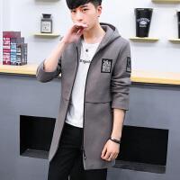秋季学生连帽外套修身韩版帅气风衣青年中长款呢子大衣披风夹克潮