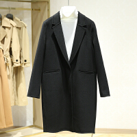 双面呢大衣女冬装新款 韩版西装领纯色中长款休闲呢子外套