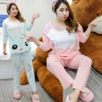 秋冬家居服女士长袖两件套加肥加大码200斤韩版宽松可爱卡通睡衣