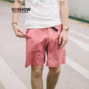 VIISHOW夏装新款休闲短裤男多色可选安全扣饰男士五分裤子潮