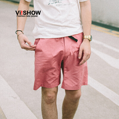 VIISHOW夏装新款休闲短裤男多色可选安全扣饰男士五分裤子潮满199减20/满299减30/满499减60 全场包邮
