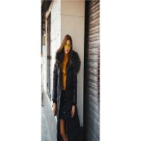 冬季新款欧美风修身显瘦大毛领女式中长款连帽羽绒服 面