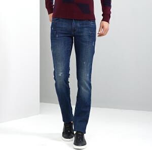 才子男装(TRIES)牛仔裤 男2017秋冬纯色简约修身版深蓝色休闲牛仔裤