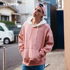 VIISHOW2017秋装新款情侣嘻哈连帽套头卫衣男 男士韩版外套潮牌
