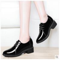 古奇天伦新款韩版百搭中跟粗跟单鞋小皮鞋女英伦学院风内增高女鞋春季DNH8808