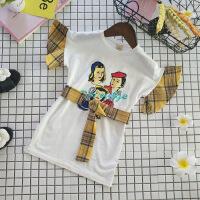 女童个性拼接连衣裙夏季新款中小童宝宝印花格子腰带短袖T裙