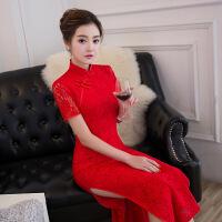春夏新款蕾丝复古改良红色性感长款旗袍气质时尚修身显瘦连衣裙女 红色