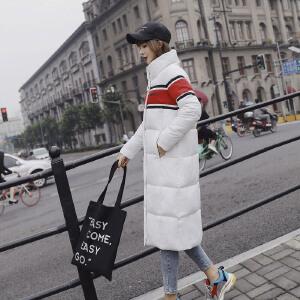 Freefeel2018秋冬新款羽绒棉服女装上衣中长款棉服修身显瘦长大衣XY8807