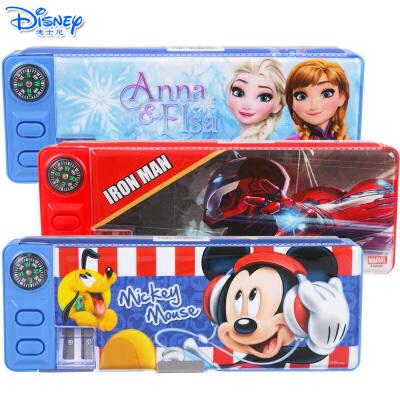 迪士尼多功能双开文具盒儿童小学生男女款带指南针削笔刀铅笔盒