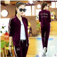 街头潮流跑步长袖韩版卫衣三件套潮运动服金丝天鹅绒运动套装女