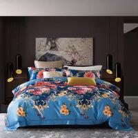 家纺纯棉天丝床上用品四件套欧式双面印花夏季四件套床单被套 2.0米床:被套220*240 床单250*270