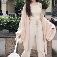 春装新款宽松垂感慵懒风大袖子长袖中长款仿貂绒开衫外套女装