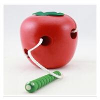 儿童益智力大号虫吃苹果玩具 宝宝蒙氏早教穿线串珠玩具1-2岁