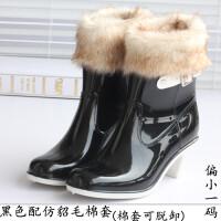 春夏女士短筒雨靴高跟加棉可拆卸水鞋防滑坡跟胶鞋休闲单雨鞋