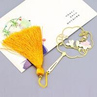 玉兰花彩色黄铜金属流苏书签礼盒包装古典清新中国风文化礼品